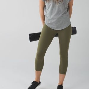 Lululemon Wunder Under Crop Luon Green Size 6